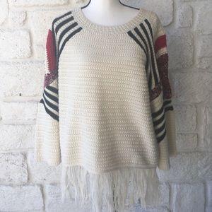 Moon River Fringed Hem Sweater / Size Large
